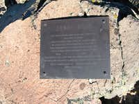 Arnot summit plaque