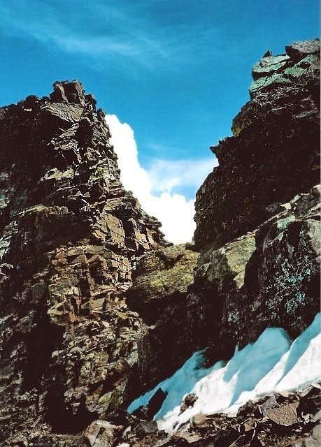 A notch in the ridge