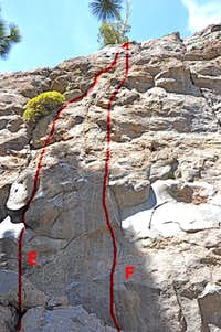 Routes to the left of Warming Wall Crack