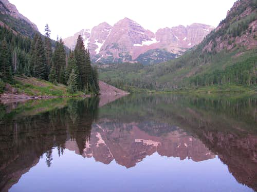 The Maroon Bells Reflected in Maroon Lake
