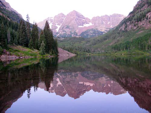 The Maroon Bells Reflected in Maroon Lake
