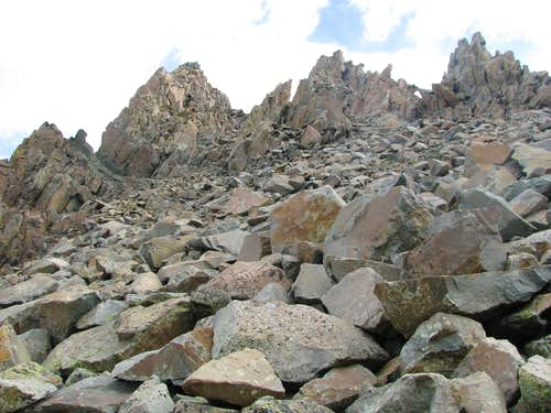 Solid talus on SW Ridge