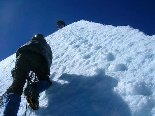Tom and Bryan Climbing Pequeño Alpamayo, Bolivia