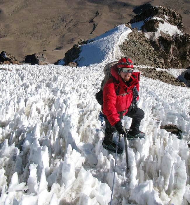 Penitentes on Nevado Sajama, Bolivia High Point