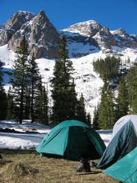 Camp at 10,600 feet just...