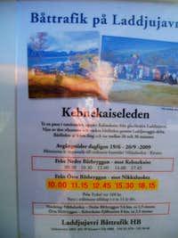 Boat schedule on Ladtjojåhka