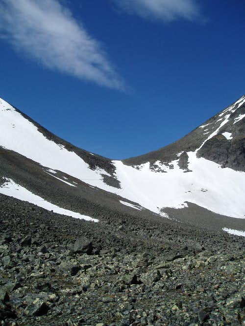 Snow field to saddle