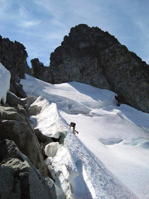 Late season moat and bergshrund cruxes on Torment-Forbidden Traverse