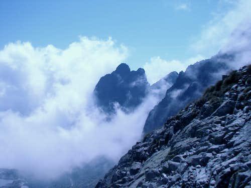 Prostredny Hrot between clouds