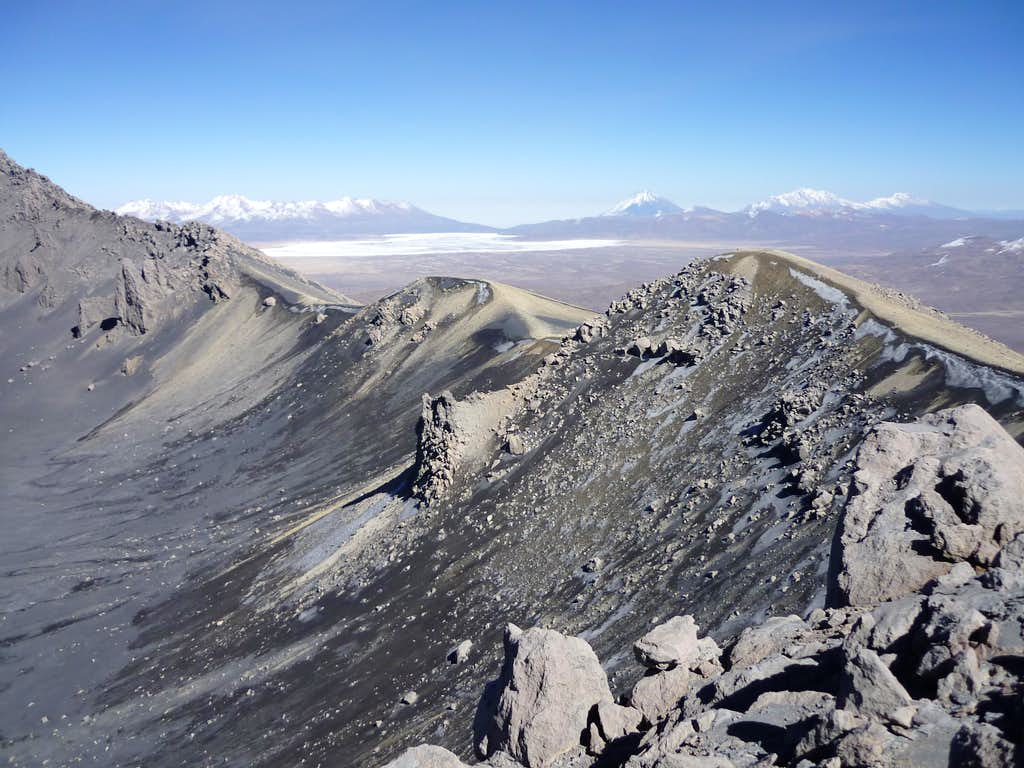 On the ridge of crater