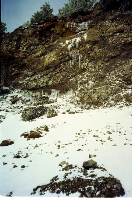 Icicles on the cliff at the...