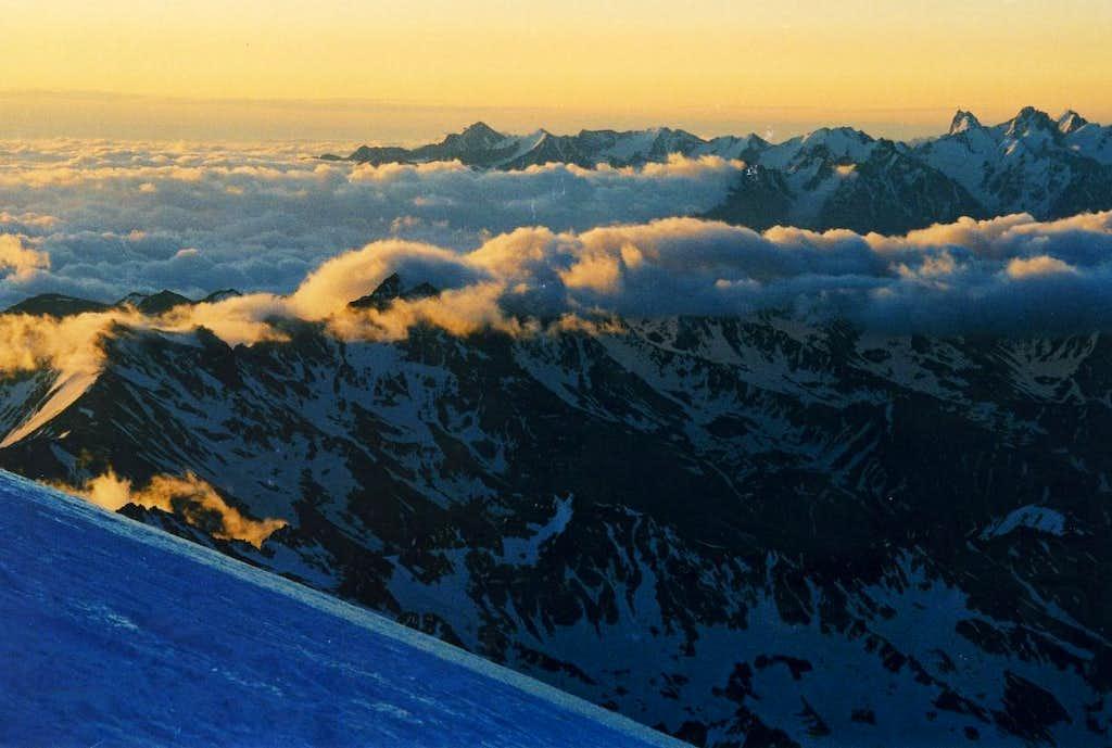 Sunrise_ Major Caucasus Ridge from Elbrus slope @16000+ft