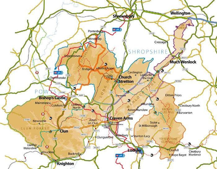 Area map of South Shropshire Hills AONB