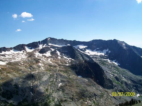 Looking south from high up on Black Rock Pass. Empire Mountain is the peak below and right of the cloud.