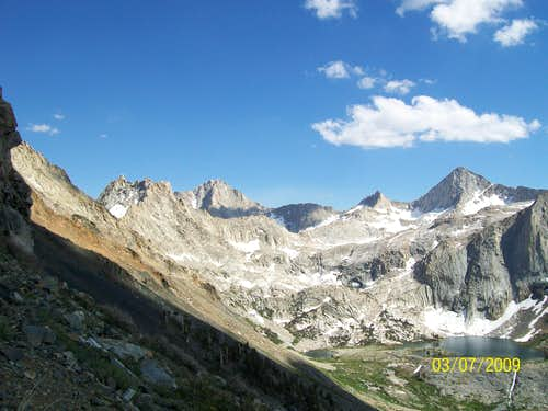 "Looking at the Sawtooth (the rightmost peak) ""cirque"". Spring Lake can be seen lower-right."