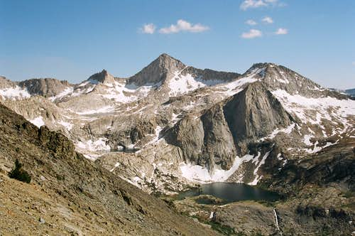 "The Sawtooth ""cirque"" from a higher elevation. Sawtooth Peak, center, is the only named peak in this photo."