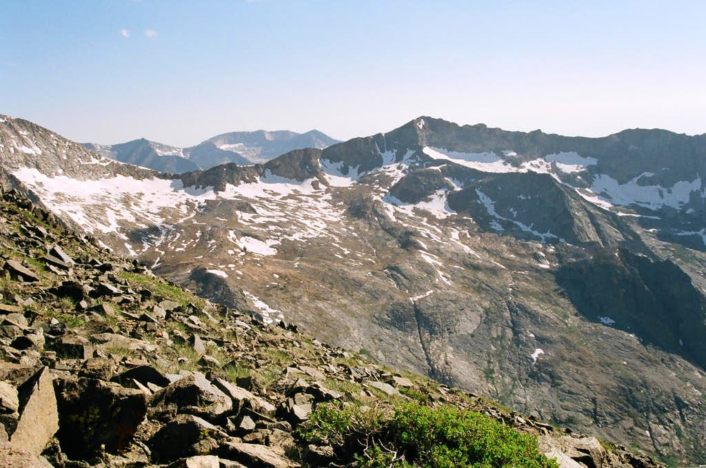 A view south from the top of Black Rock Pass. Empire Mountain is the highpoint on the ridge.