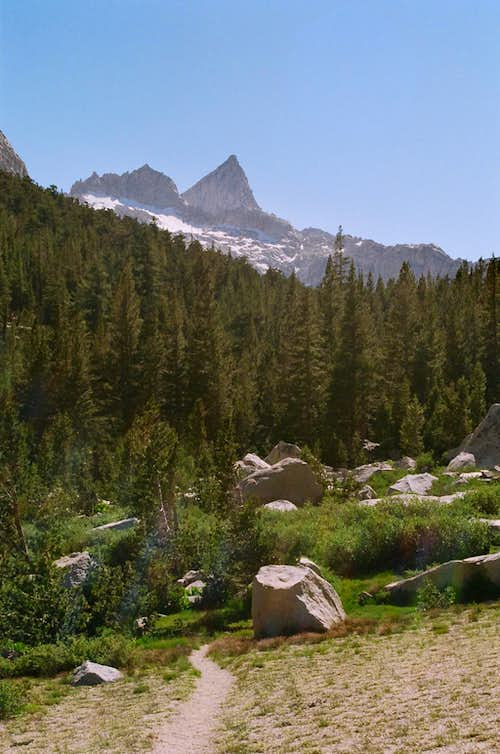 Sawtooth Peak through sunshine from Lost Canyon
