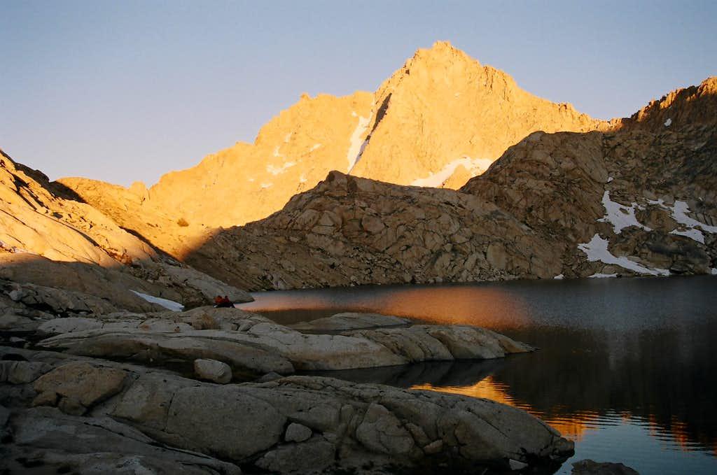 Sunset on Needham Mountain over Columbine Lake