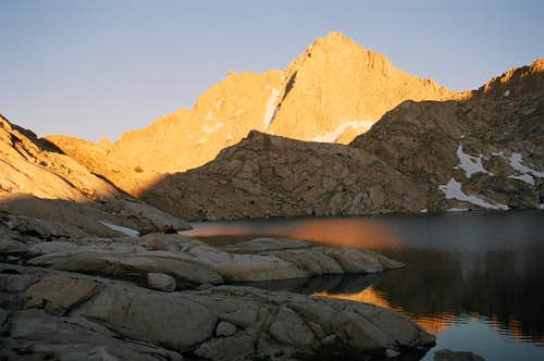 Sunset on Needham Mountain over Columbine Lake