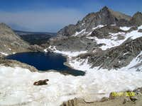 A marmot venturing across Sawtooth Pass. Needham Mountain upper-right. Columbine Lake below.