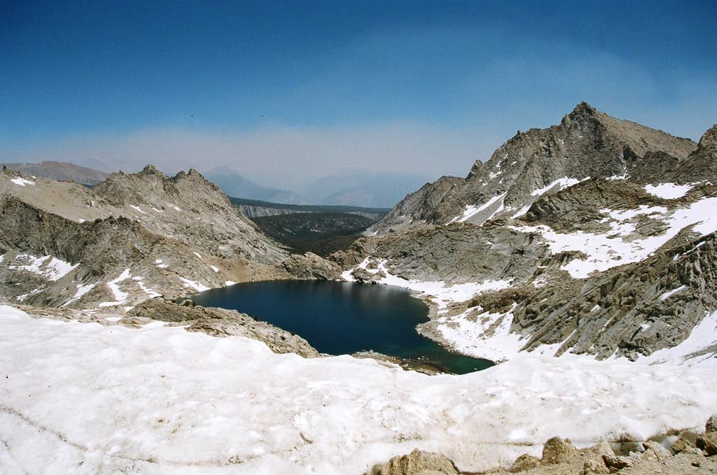 Columbine Lake and Needham Mountain from the top of Sawtooth Pass