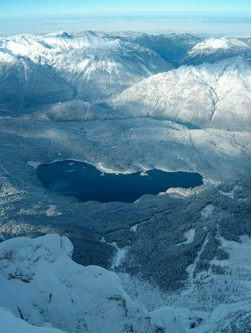 Eibsee from Zugspitze during...
