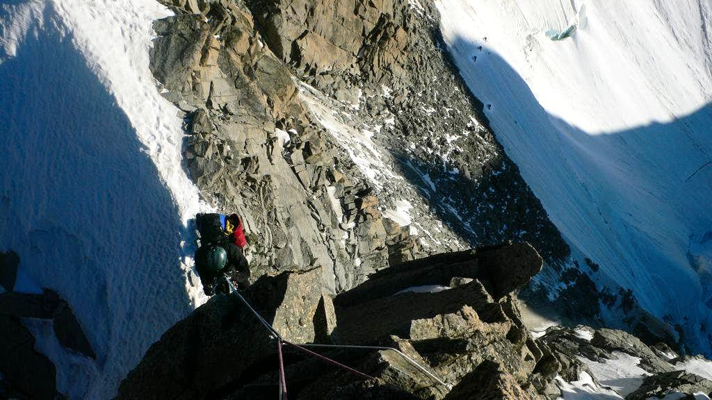Rappelling to the Col Eccles