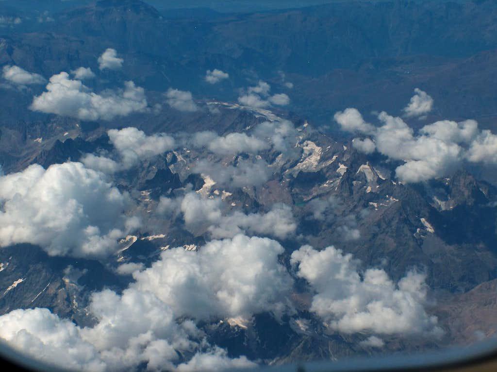 Ecrins range: Lac Du Pave with Grand Ruine, Pic nord des Cavales,Pic La Grave, Le Rateau, La Meije, Pic Le Pave, Pic Gaspard, Dome De La Lauze, Aiguille Plat De La Selle, Le Plaret, glacier du Mont de Lens is the furthest visible glacier.