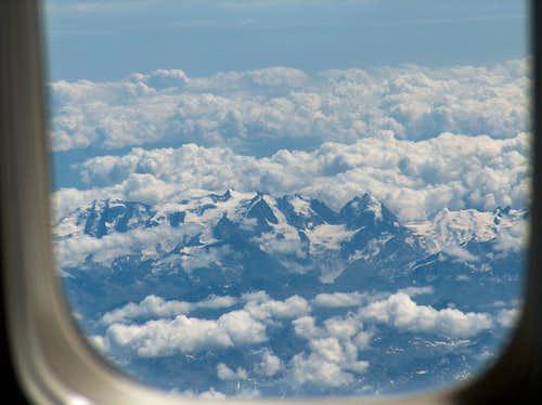 the Bernina group north side: Piz Palü, Bellavista, Bernina (Biancograt well visible)and Piz Roseg on the right Pozdrowienia