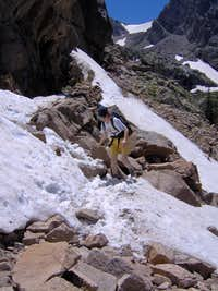 Crossing Snowbank in Odessa Gorge