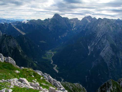 Mangart and Jalovec over Koritnica Valley