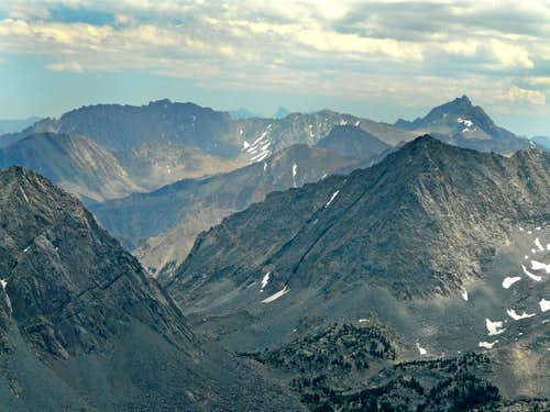 Basin Mtn., left, Mt. Humphreys, right and Morgan Pass below