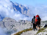 On the trail early near Rif. Pian di Cengia