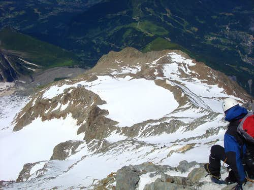 Climber descending from Gouter hut