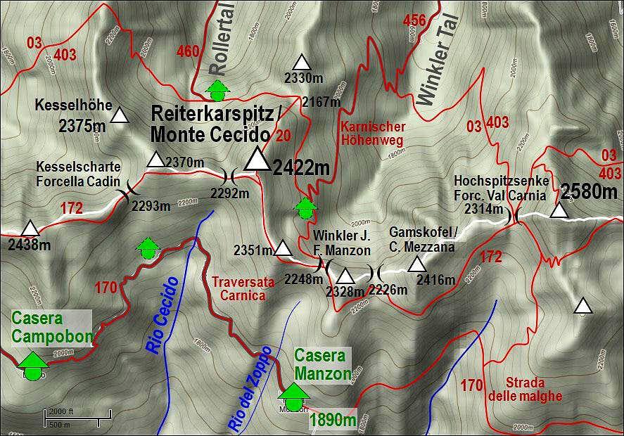 Reiterkarspitz / Monte Cecido map
