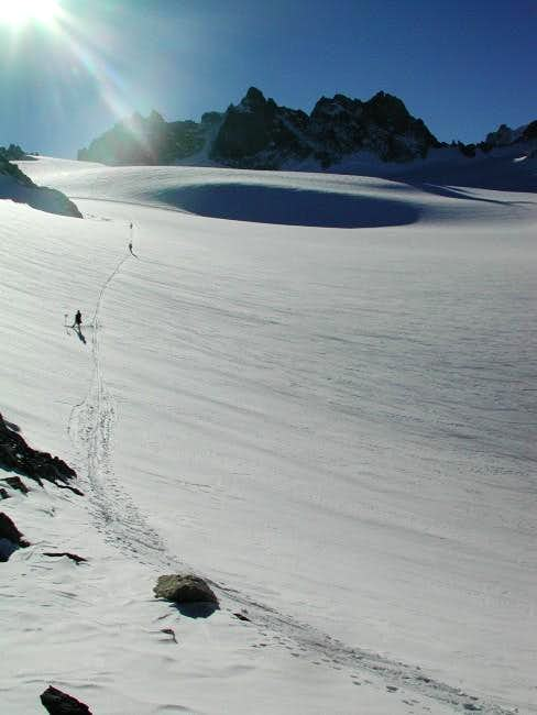 Skiing with the Aiguilles...