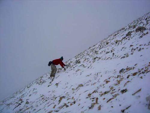 Climbing Sherman's east face...