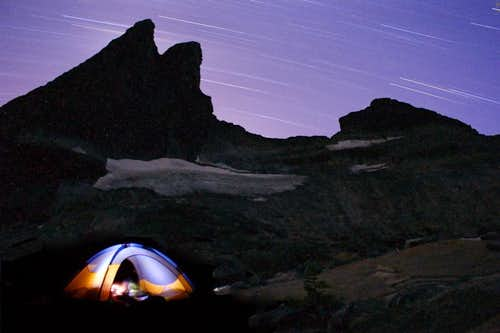 Star trails over camp below Mt Gimli in the Valhallas (BC)