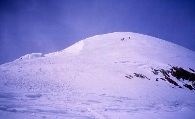 Climbers nearing the summit...