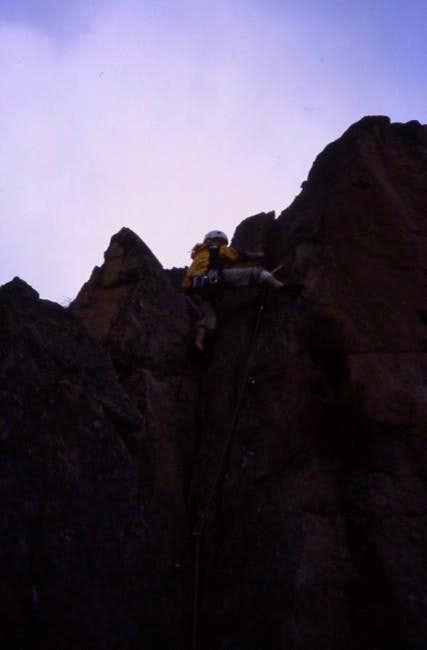 Climbing in Les Aiguilles...