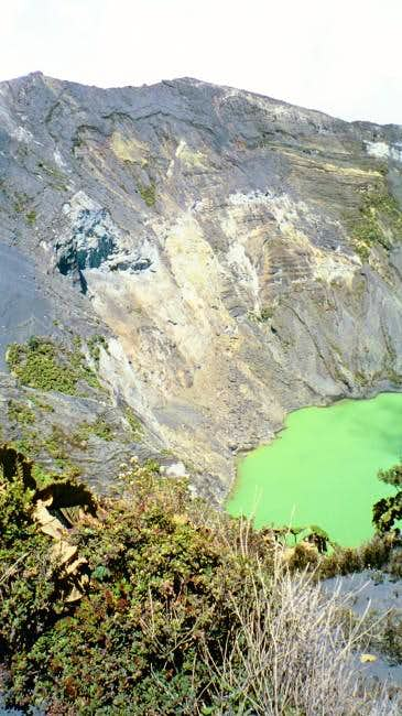 Irazu Crater. The lake is...