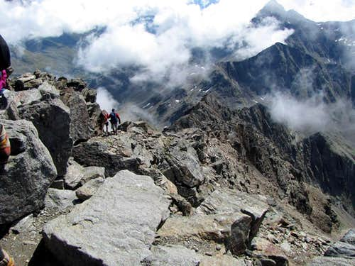 View back to the south ridge from summit of Hochschober