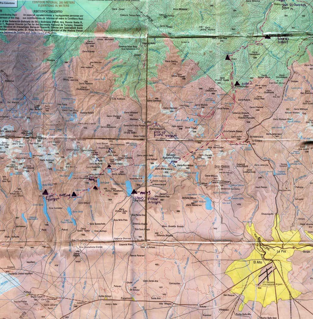 Cordillera Real Topographical Map, Bolivia
