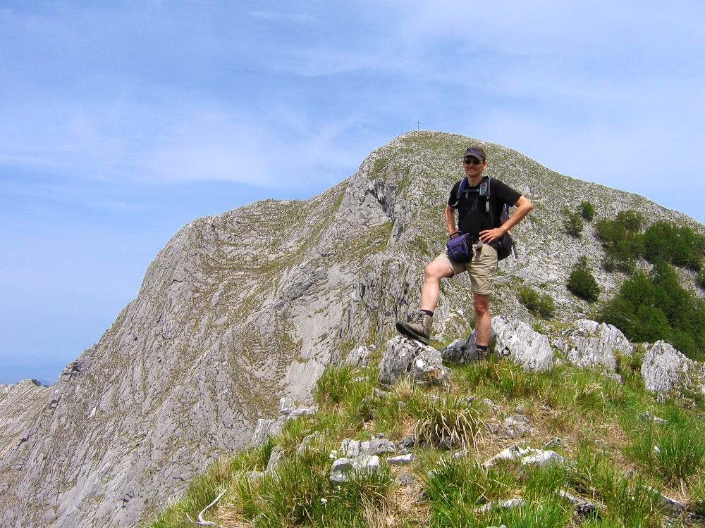 Poser in front of the Monte Altissimo south face
