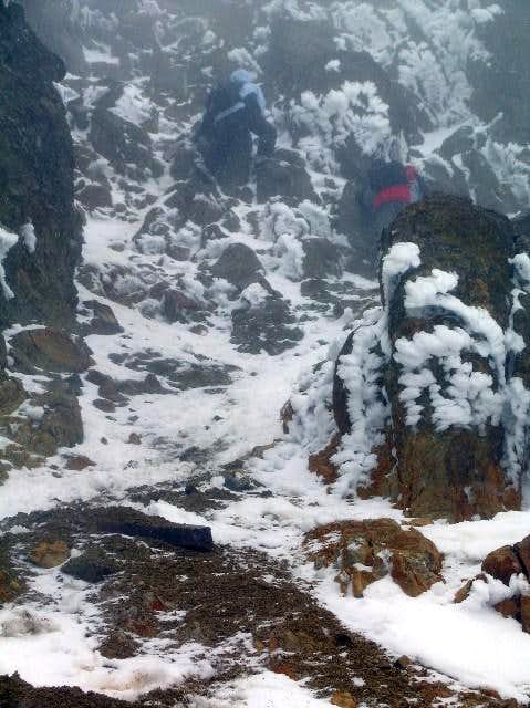 Begining the summit gully....