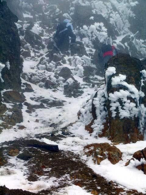 Begining the summit gully....