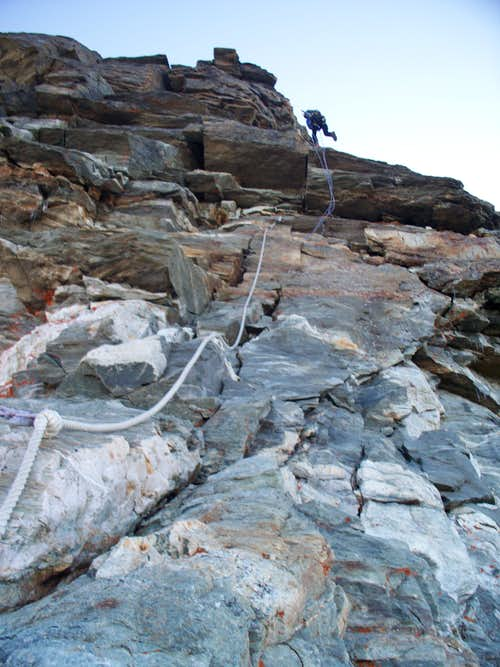 Descending past fixed ropes to Carel Hut
