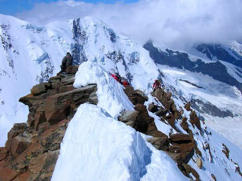 Climbers on the summit ridge