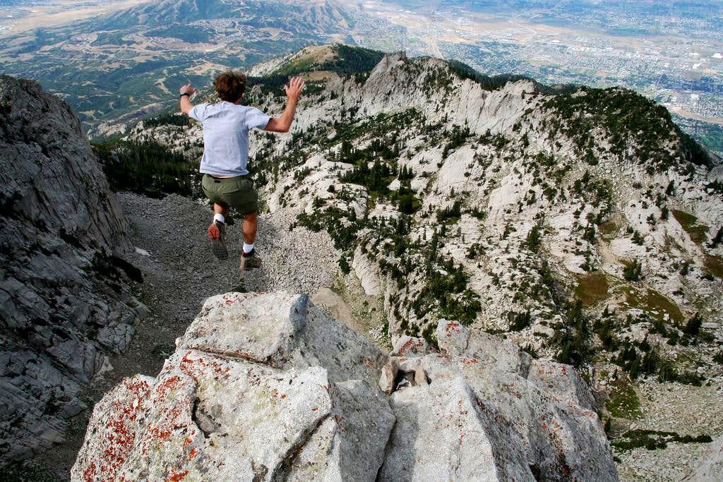 Jumping off Lone Peak